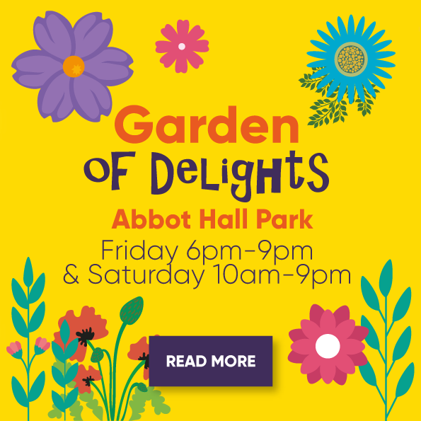 Garden of Delights, Abbot Hall Park. Friday 6pm - 9pm & Saturday 10am - 9pm